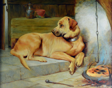 """A Golden Retriever,"" Edwin Douglas, 1900, oil on canvas, Maryhill Museum of Art"