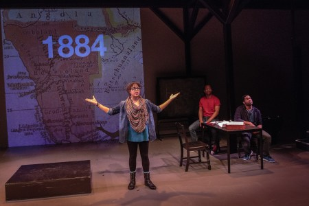 "Chantal DeGroat presents a section of ""We Are Proud to Present"" at Artists Repertory Theatre/Photo by Owen Carey"