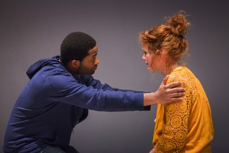 "Joseph Gibson and Rebecca James Ridenour in ""We Are Proud to Present"" at Artists Rep/Photo by Owen Carey"
