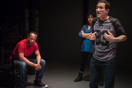 "Vin Shambry (left), Chantal De Groat, and Chris Harder in ""We Are Proud To Presnt ..."" Photo: Owen Carey"