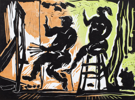 George Johanson, 'Artist & Model', reduction linocut, 2015 12 x 16 inches