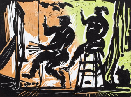 George Johanson, 'Artist & Model', reduction linocut, 2015 12 x 16 inches
