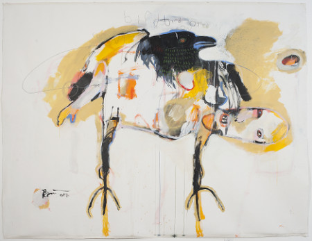 """Bird Bird Bird Crow Crow,"" 2013. Acrylic & graphite on canvas, 72 x 96 inches. Froelick Gallery"