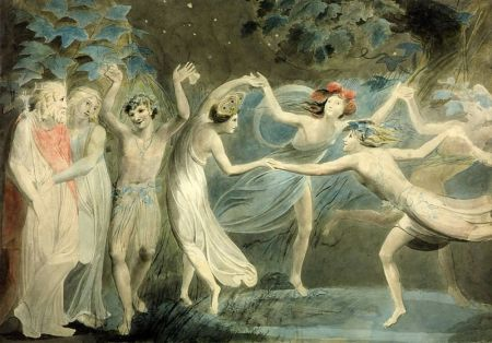 """Oberon, Titania, and Puck with Fairies Dancing,"" William Blake, ca. 1786, watercolor and graphite on paper, 18.7 x 26.6 inches, Tate Britain, London / Wikimedia Commons"