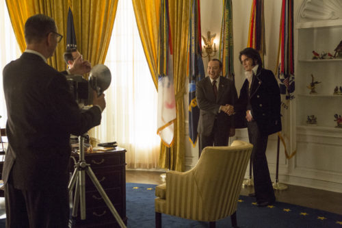 "Kevin Spacey stars as Richard Nixon (left) and Michael Shannon stars as Elvis Presley (right) in Liza Johnson's ""Elvis & Nixon,"" an Amazon Studios / Bleecker Street release."