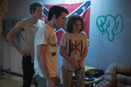 "Callum Turner, Anton Yelchin and Alia Shawkat in ""Green Room."" © A24 Photo by Scott Patrick Green, courtesy of A24."