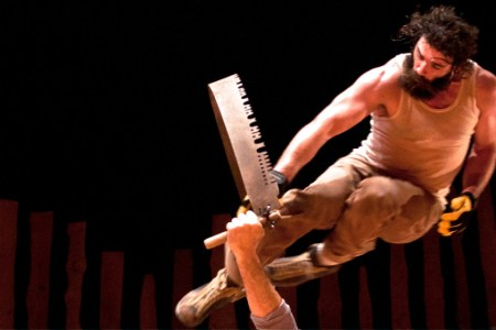 """Timber!"": blades of steel. Photo: Cirque Alfonse / White Bird Dance"