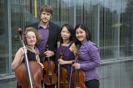 Delgani: Kelly Quesada (cello), Wyatt True and Jannie Wei (violins) and Kimberlee Uwate (viola). Photo: Delgani Quartet.