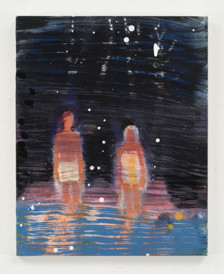 Katherine Bradford, Waders Under Stars, acrylic on canvas, 20 x 16 inches/Adams and Ollman