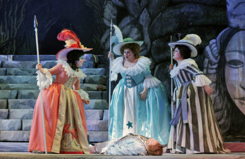 Over his (not quite) dead body: the ladies-in-waiting and Prince Tamino. Photo: Cory Weaver