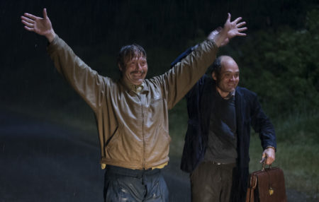 "Mads Mikkelsem and David Dencik in ""Men & Chicken."" Photo Credit Rolf Konow"