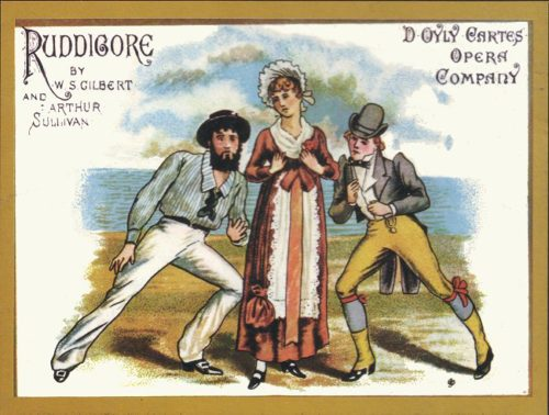 "Richard, Rose, and Robin in the poster for the original 1887 D'Oyly Carte production of ""Ruddigore."" Wikimedia Commons"