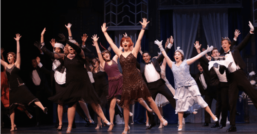 "Outstanding lead female actor Claire Avakian and company in best-production nominee ""Thoroughly Modern Millie"" at Broadway Rose. Photo: Craig Mitchelldyer"