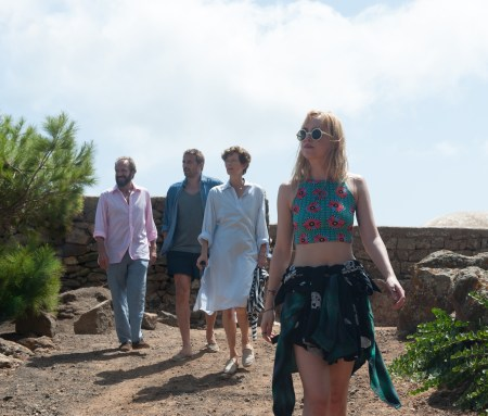 "(From L-R): Ralph Fiennes as ""Harry,"" Matthias Schoenaerts as ""Paul,"" Tilda Swinton as ""Marianne"" and Dakota Johnson as ""Penelope"" in A BIGGER SPLASH. Photo courtesy of Jack English. © 2016 Twentieth Century Fox Film Corporation All Rights Reserved"