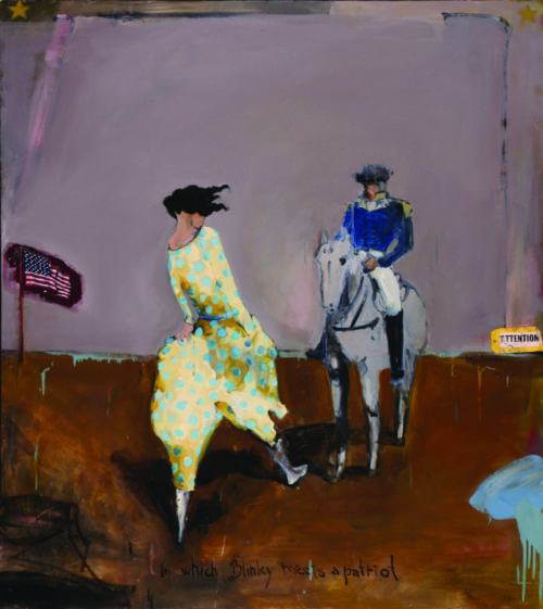 "Royal Nebeker (American, 1945-2014), ""Blinky Meets a Patriot,"" 2006, oil on canvas, 55.5 x 50 in., collection of Sarah Nebeker, Gearhart, Oregon. Photo by Allan McMakin."
