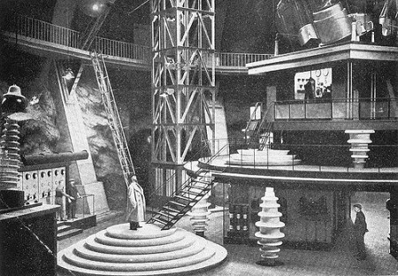"The central, futuristic set of the 1934 German sci-fi film ""Gold."""