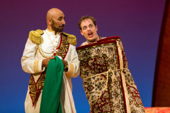 Ashraf Sewailam as Mustafa with Ryan Thorn as Tadeo in Portland Opera's 'The Italian Girl in Algiers.' Photo: