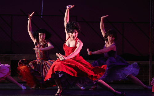 "From left: Genevieve Adams, Kayla Dixon, Tara Velrde in Broadway Rose's ""West Side Story."" Photo: Liz Wade"