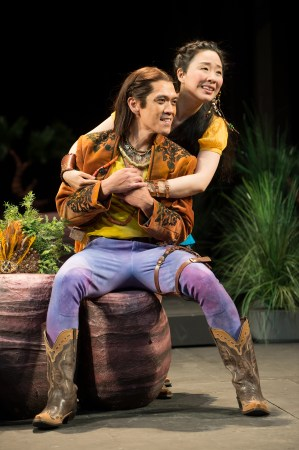 Florizel (Moses Villarama) and Perdita (Cindy Im) are young lovers in Bohemia. Photo: Jenny Graham, Oregon Shakespeare Festival