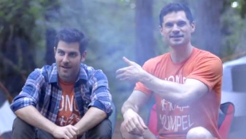 """""""Grimm"""" star David Giuntoli and Flula Borg in """"Buddymoon"""": a walk in the Oregon woods."""