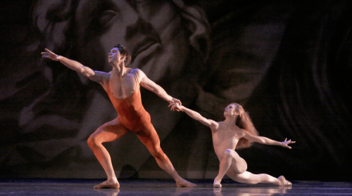 "Artur Sultanov and Gavin Larsen in Kent Stowell's ""Orpheus Portrait"" at Oregon Ballet Theatre. Photo: Blaine Truitt Covert"