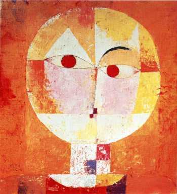 "An orange dance of a different stripe: Paul Klee, ""Senecio,"" 1922, oil on canvas, 15.9 x 15 inches, Kunstsmuseum Basel, Switzerland"