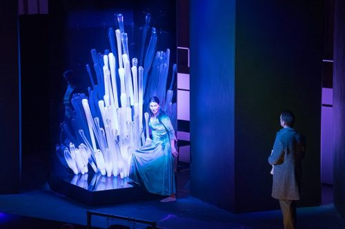 "Viktoia Vizin as Judith, with Chihuly glass, in ""Bluebeard's Castle."" Photo: Jacob Wade/Oregon Symphony"