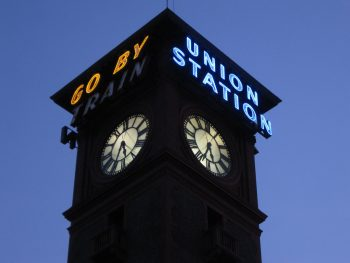 Classic 1893 clock tower at Portland's Union Station.