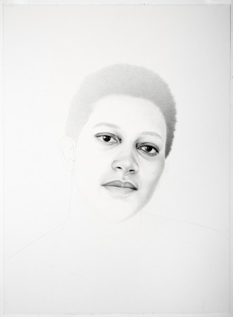 "Samantha Wall,""Ann-Derrick"", 2016, graphite on paper, 30 x 22 inches/Courtesy Laura Russo Gallery"