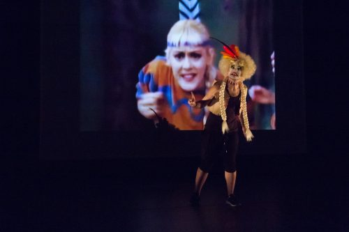 "Carla Rossi and her nemesis in ""Looking for Tiger Lily."" Photo: Chelsea Petrakis"
