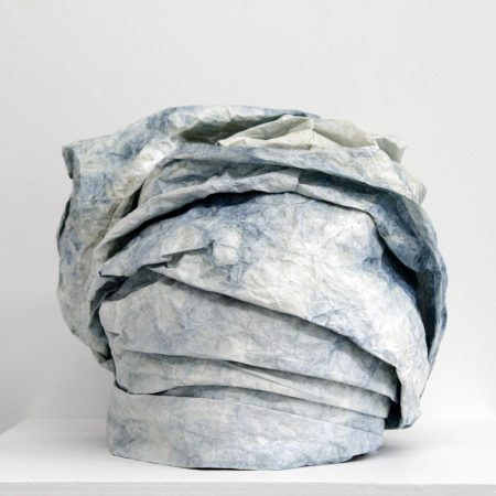 "Bukola Koiki, Tyvek Gele I, (from the series ""I Claim That Which Was Never MIne""), Tyvek, natural indigo and thread, 2014 /Courtesy of Nationale"