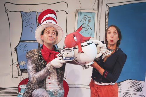 John Ellingson as the Cat in the Hat, Jenny Bunce (and hand puppet) as the Fish. Photo: ©2016 Pat Moran