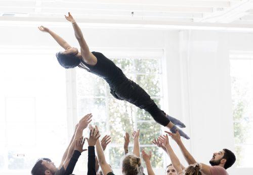 Falling for rehearsals: Northwest Dance Project in the studio. Photo: Blaine Truitt Covert