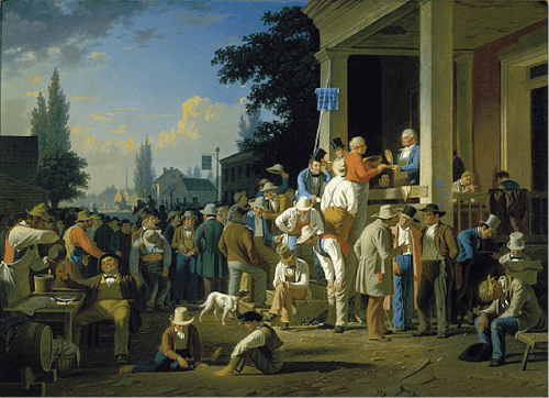 """The County Election,"" George Caleb Bingham, 1852, oil on canvas, 38 x 52 inches, Saint Louis Art Museum"