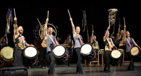 Los Angeles's TaikoProject and Portland Taiko joined forces at the end of their joint concert, 'Sound in Motion.' Photo: Brian Sweeney.