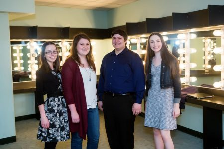 (2) Second Group Shot: Caption: Cayla Belogaja, Marissa Lane-Massee, Joseph Miletta, and Katie Palka attend premiere of Kyr's piano concerto in May. Photo: Eugene Symphony.