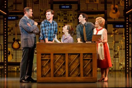 "Four Friends. (l to r) Curt Bouril (""Don Kirshner""), Liam Tobin (""Gerry Goffin""), Julia Knitel (""Carole King""), Ben Fankhauser (""Barry Mann"") and Erika Olson (""Cynthia Weil"") in 'Beautiful.' Photo: Joan Marcus."
