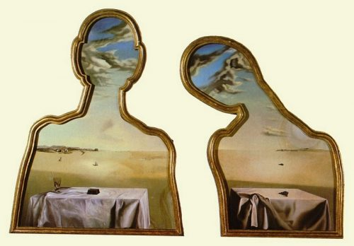 """All in the framing: Salvador Dali, """"Couple with Their Heads Full of Clouds,"""" 1936. Museum Boijmans van Beuningen, Rotterdam; © Salvador Dali, Gala-Salvador Dali Foundation"""