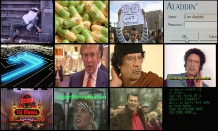 """A collage of images from Adam Curtis' documentary """"Hypernormalisation."""""""