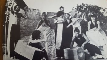 PDT dancers with foam structures (from left) Charles Hubbard, Susan Howard, Bonnie Merrill, Jann Dryer, Ann Bruner, Gregg Bielemeier, Pat,Wong, and Judy Patton. Photo courtesy of Judy.Patton.