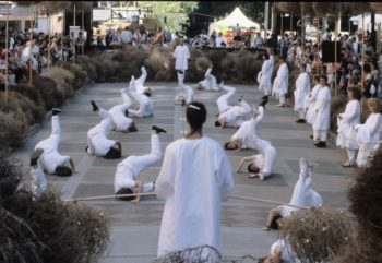 Merrill's work We Gather was performed at the citywide Portland arts festival Artquake in 1994. Photographer unknown.