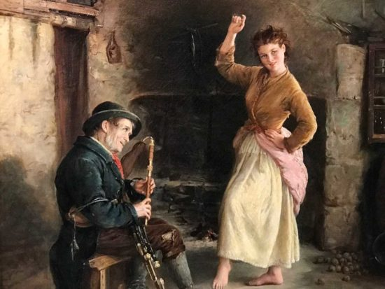 "Detail from ""The Irish Piper"" by William Oliver Williams, 1874, oil on canvas, Ireland's Great Hunger Museum, Quinnipiac University, Connecticut"