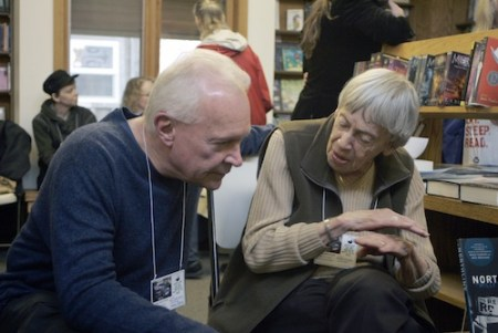 Ursula K. Le Guin chats with fellow fantasy author Terry Brooks in 2013. Photo courtesy: Get Lit at the Beach