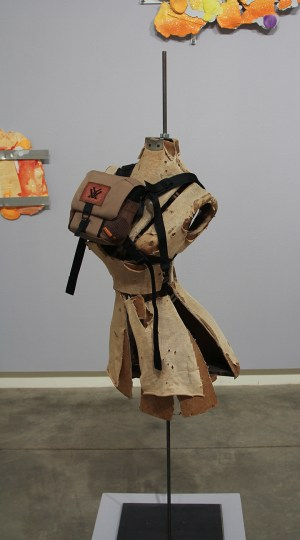 "Ryan Kitson, Dress Form with Knocker Harness"", 57x19x18 inches, dress form, binocular harness, 2 Rockstars, 2019/Schneider Museum of Art"