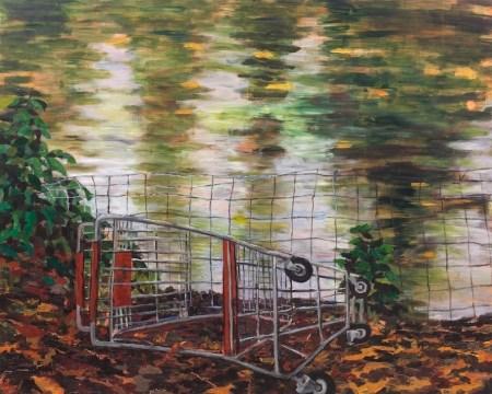 """Laurelhurst Pond with Cart"" by Carola Penn, 2010, acrylic/wood, 48"" x 60"""
