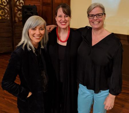 Resonance Ensemble conductor and Artistic Director Katherine FitzGibbon. Composers Melissa Dunphy Stacey Phillipps. At Cerimon House for February 3rd Women Singing Women concert. Photo courtesy of Resonance Ensemble.