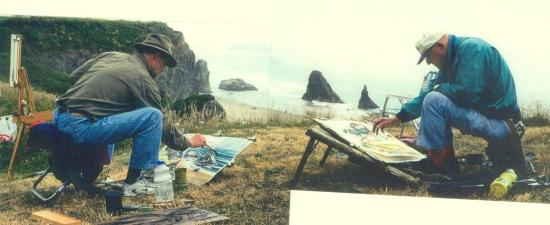 Erik Sandgren (left) and his father, Nelson Sandgren, paint at Bandon in 2004, two years before the elder Sandgren's death. The Sandgren Coast PaintOut began in 1978 as an OSU summer watercolor course taught by Nelson Sandgren. Photo by: Kathryn Cotnoir
