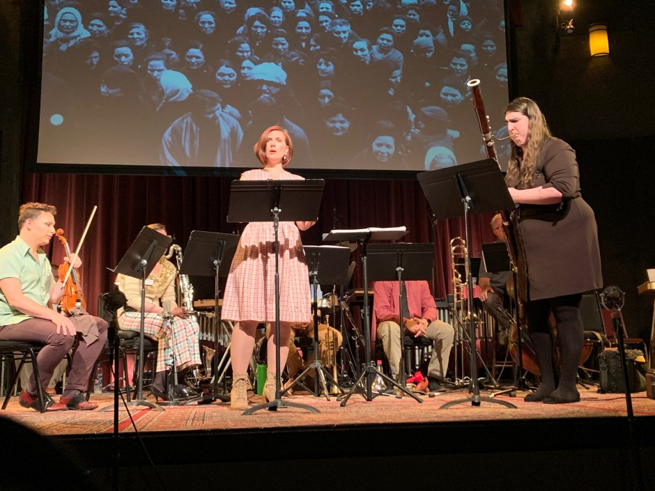Hannah Penn takes a duet with bassoonist Danielle Goldman in OTO's 'This Land Sings.' Photo by Michael Daugherty.