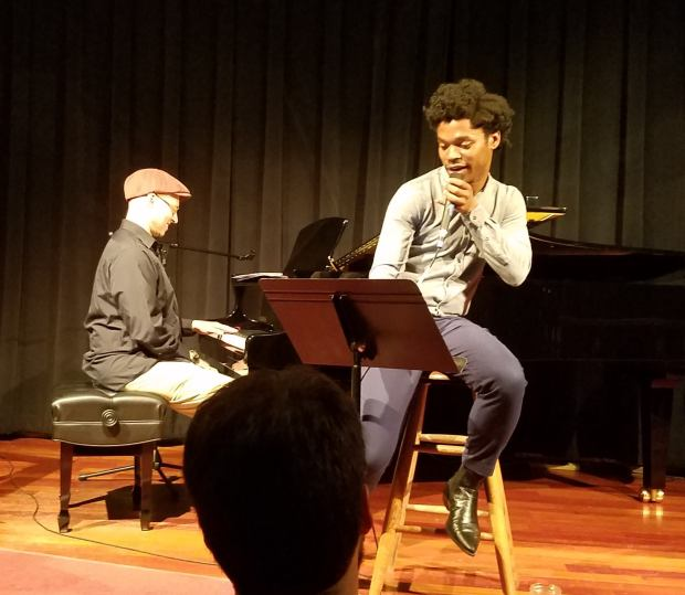 Jimmie Herrod and George Colligan performing at Classic Pianos in Portland. Photo by David Peterson.