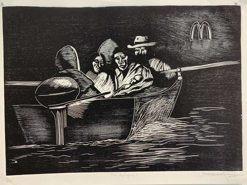 """The Refugees,"" by Carlos Barberena (woodcut on HW Rives Paper, 24 by 18 inches)."